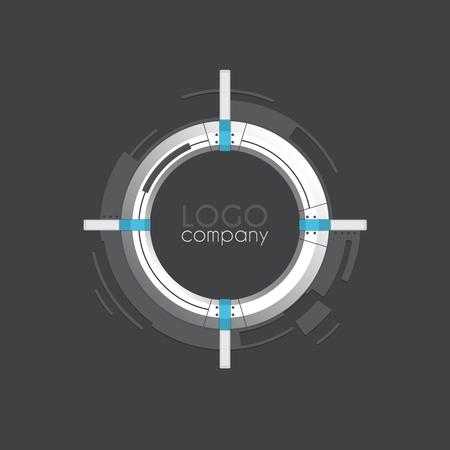 Vector hi-tech round frame for logo company or text. Vector temp