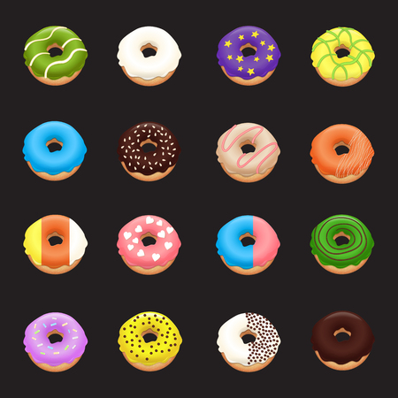 Donut set. Donuts icons