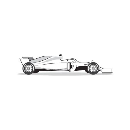 Race car isolated on white background. Vector. Vettoriali