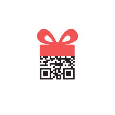 QR code as a Gift. Vector icon