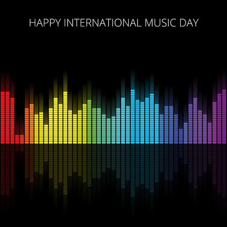color reflection: Color Music Equalizer with reflection, Vector illustration.