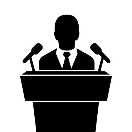 speaker black icon. orator speaking from tribune vector illustration