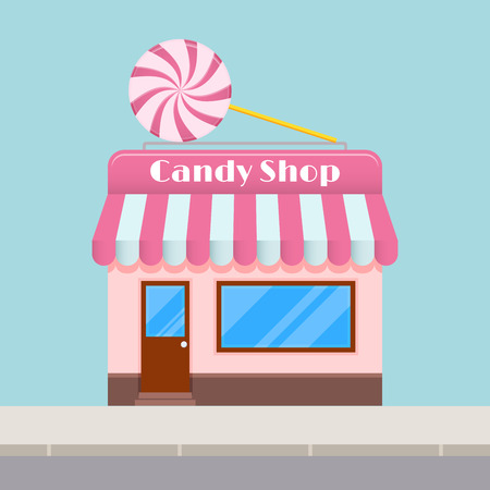 candy store: Bright cartoon candy store with a canopy, flat style