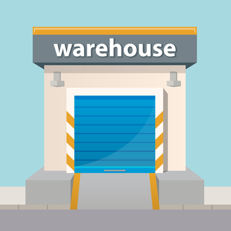 warehouse building: Vector warehouse building icon in flat style. Illustration