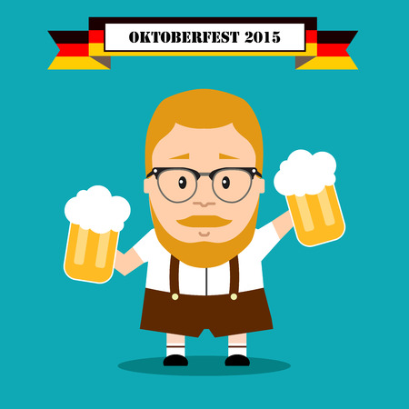 chope biere: Bavarian festival oktoberfest. man in traditional costume with beer.