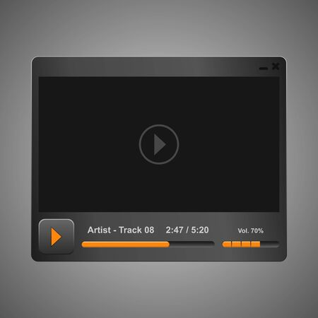windows media video: Vector grey audio video player design for you app Stock Photo