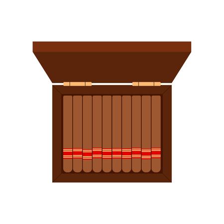 baccy: Brown Cigarette Case - cigar flat style white background
