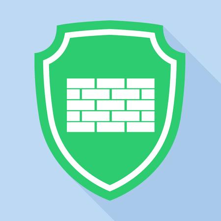 se�ales de seguridad: escudo verde con el icono de marca de ladrillo, de estilo plano