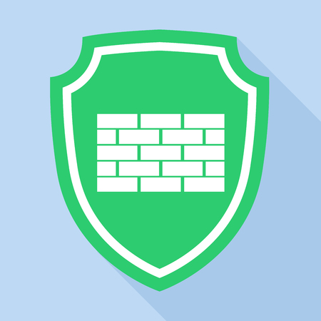 security icon: Green shield with brick mark icon, flat style Illustration