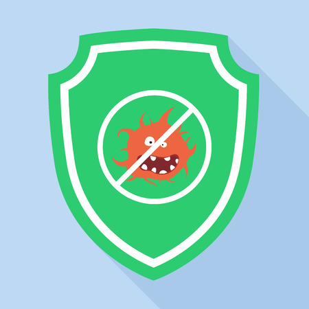 antivirus: Guard Green Shield antivirus Icon, flat style