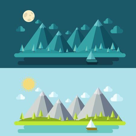 snow forest: Set of modern flat design conceptual landscapes with houses and mountains. Illustrations of beautiful forest scenes.