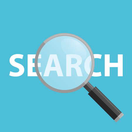 object glass: Search Flat Icon on a blue background, Magnifying Glass Stock Photo