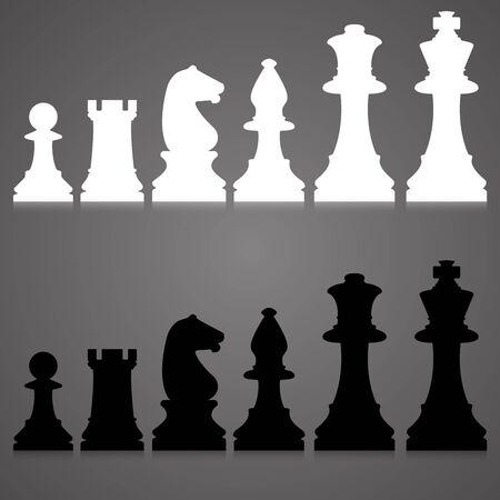 ajedrez: Siluetas editables de un conjunto de piezas de ajedrez estándar Foto de archivo