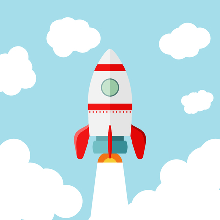 Space rocket launch. Start up concept flat style.