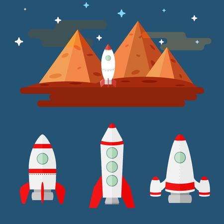 illustration plat placé des missiles contre les montagnes de la planète Mars et un ciel étoilé