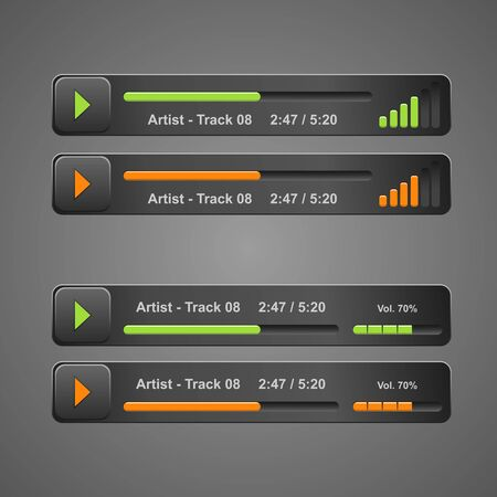 audio player: design grey audio player for web site