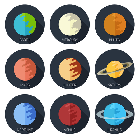 cosmo: set of the nine planets of the solar system in a cartoon style flat icon on round background. Mars, Earth, Jupiter, Venus, Saturn, Neptune
