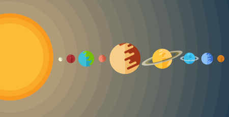 cosmo: illustration of the solar system in a flat style.