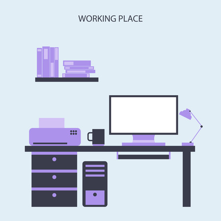 working place: Working Place Modern Office Interior Flat Design Illustration