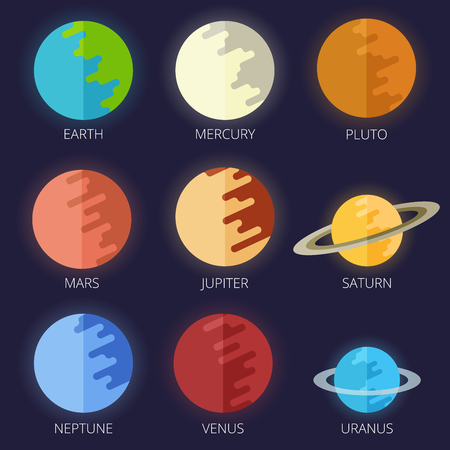 venus: set of the nine planets of the solar system in a cartoon style flat. Mars, Earth, Jupiter, Venus, Saturn, Neptune.