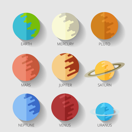 venus: set of the nine planets of the solar system in a cartoon style flat icon with shadow. Mars, Earth, Jupiter, Venus, Saturn, Neptune Stock Photo