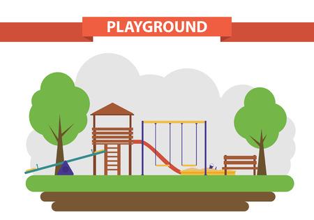플랫 스타일에서 어린이 놀이터. 마당의 건설을위한 요소의 집합입니다. 그네, 모래밭 및 슬라이드. 일러스트