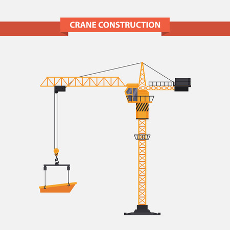 Construction cranes tower, yellow, heavy lift is used in Construction, manufacturing. illustration in a flat style