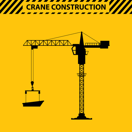 heavy construction: Silhouette construction cranes tower, yellow, heavy lift is used in Construction, manufacturing. illustration in a flat style.