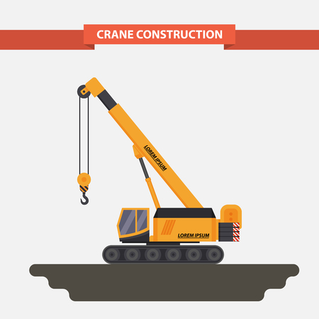 crane: the mobile crane, tractor. illustration isolated in a flat style on a white background.