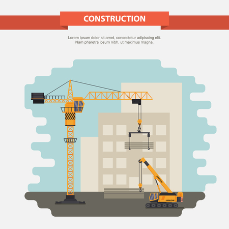 dredger: Two construction cranes in the construction of residential, office building. illustration in a flat style. Illustration