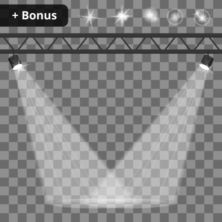 Scene illumination, transparent effects on a plaid background. Bright lighting with spotlights.