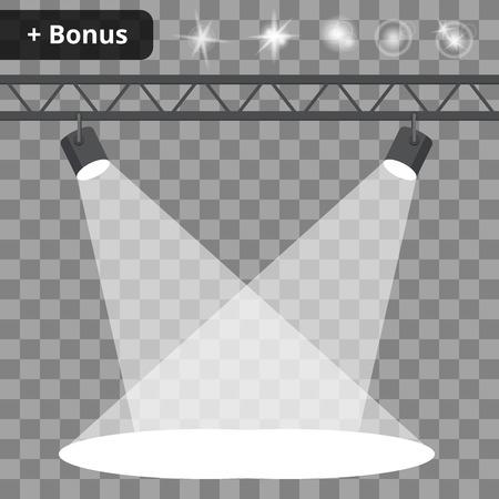 een scène met schijnwerpers op een transparante achtergrond. bonus met een foto van de lichteffecten en reflecties.