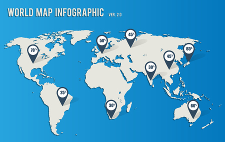 Light gray map of the world on a blue background, with pointers, pin for infographics.