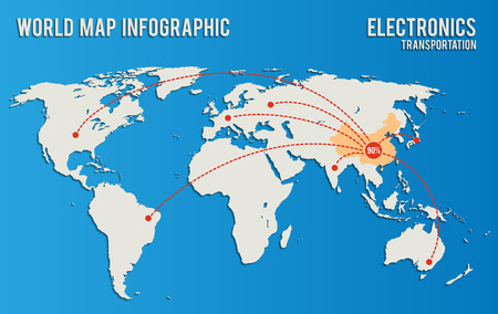 infographics influence of China in the supply of electronics.  Vector world map on a blue background.