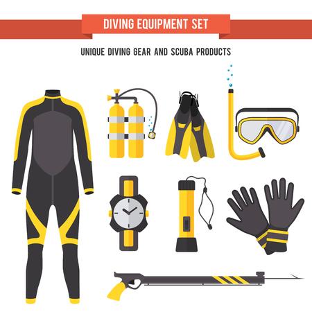 oxigeno: Conjunto de armas con los elementos amarillos planas para el buceo y la pesca submarina en el mar los r�os y lagos. Vectores