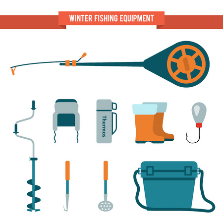 ice fishing: Set of equipment in the flat style for winter fishing on the ice. Fishing rod with a jig, boots and a thermos. Illustration