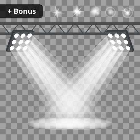 Szene mit vielen Projektoren, Scheinwerfer auf einem transparenten Hintergrund. Bonus mit einem Bild der Lichteffekte und Spiegelungen Standard-Bild - 50559497