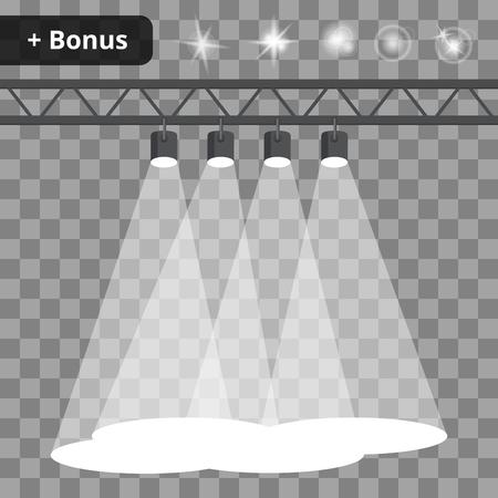 Scène met vier projectoren, spots op een transparante achtergrond. bonus met een foto van de lichteffecten en reflecties Stockfoto - 50559498