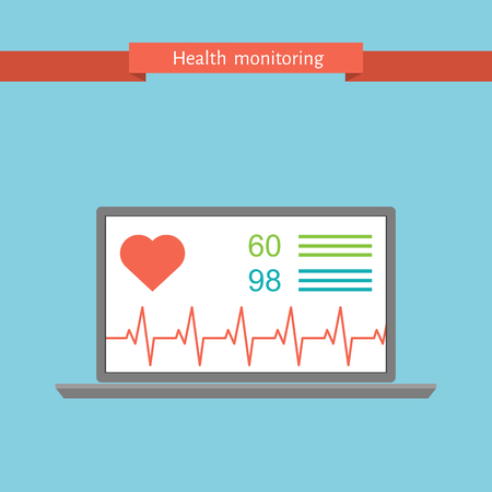 netbook: health monitoring signs using a netbook, flat vector illustration
