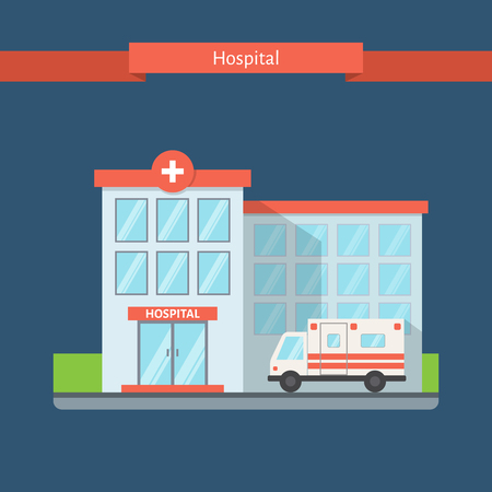 Hospital flat style with glare on the windows. Clinic building with ambulance. Flat vector illustration