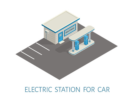 filling: Vector isometric gas, electric filling station building. asphalt from road markings. 3d illustration. brick, brickwork.