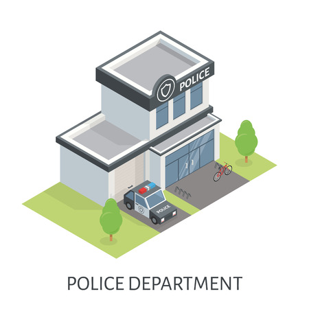 patrol car: Isometric police department building. Patrol car. Bicycle in the parking lot near the entrance.