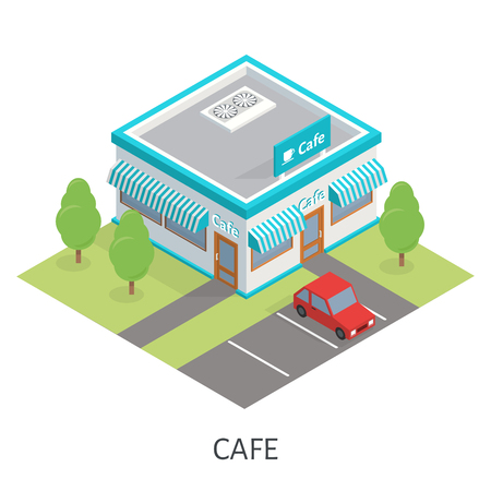 sidewalk cafe: Isometric restaurant cafe and trees. Flat building icon. Car parking.