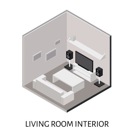 plasma tv: Vector isometric living room with a plasma TV and stereo system. Illustration