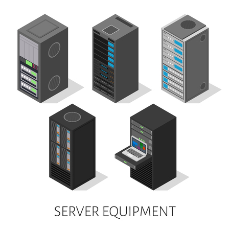 set of server equipment in isometric, perspective view isolated on a white background. Vectores