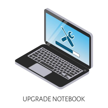 computer repair: isometric illustration of an upgrade of the computer laptop with a strip load and icon repair.