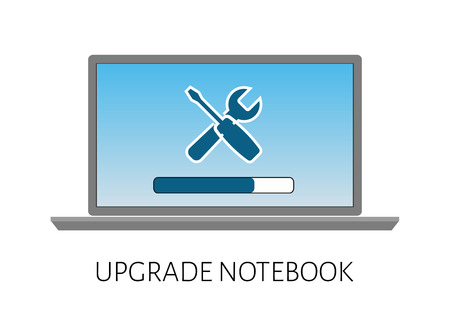 computer services:  upgrade of the computer laptop with a strip load and icon repair. Illustration