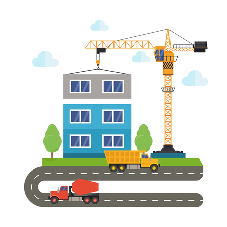 concrete construction: construction of buildings using construction equipment. Crane truck and concrete mixer. Flat style illustration. Illustration