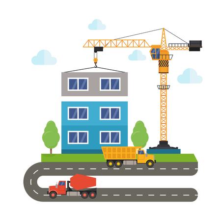 dredger: construction of buildings using construction equipment. Crane truck and concrete mixer. Flat style illustration. Illustration