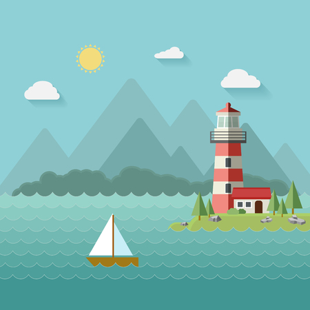 Lighthouse on the beach, island, mountains in the background, a yacht or a ship in water.